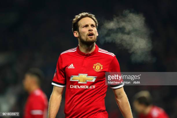 Daley Blind of Manchester United looks on during the Emirates FA Cup Third Round match between Manchester United and Derby County at Old Trafford on...