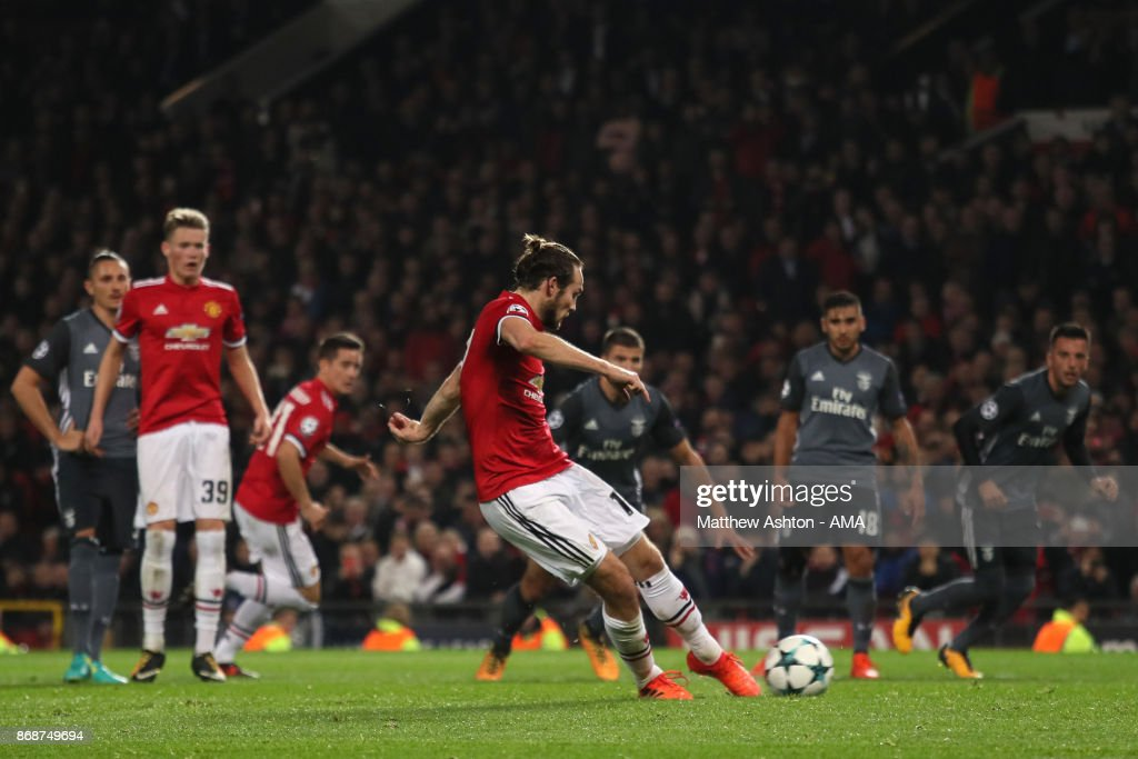 Daley Blind of Manchester United scores a goal to make the score 2-0 during the UEFA Champions League group A match between Manchester United and SL Benfica at Old Trafford on October 31, 2017 in Manchester, United Kingdom.