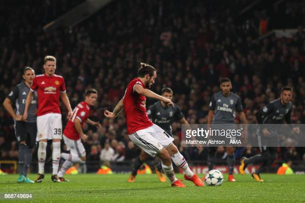 Daley Blind of Manchester United scores a goal to make the score 20 during the UEFA Champions League group A match between Manchester United and SL...