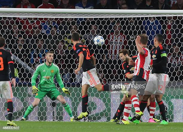 Daley Blind of Manchester United scores an owngoal during the UEFA Champions League match between PSV Eindhoven and Manchester United at Philips...