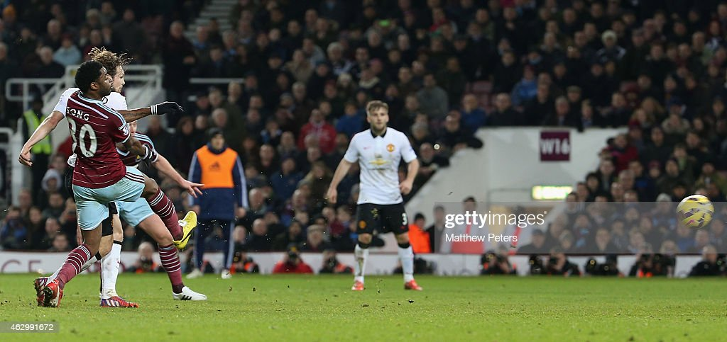 Daley Blind of Manchester United scores their first goal during the Barclays Premier League match between West Ham United and Manchester United at Boleyn Ground on February 8, 2015 in London, England.