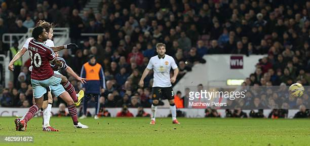 Daley Blind of Manchester United scores their first goal during the Barclays Premier League match between West Ham United and Manchester United at...