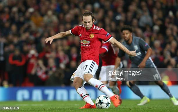 Daley Blind of Manchester United scores their second goal during the UEFA Champions League group A match between Manchester United and SL Benfica at...