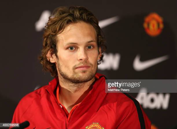 Daley Blind of Manchester United speaks during a press conference to announce new signings Radomel Falcao and Daley Blind at Old Trafford on...