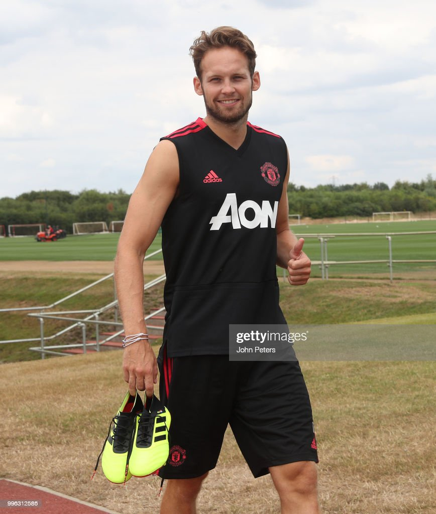 Daley Blind of Manchester United walks out ahead of a first team training session at Aon Training Complex on July 11, 2018 in Manchester, England.