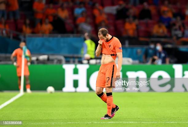 Daley Blind of Netherlands reacts as he leaves the pitch during the UEFA Euro 2020 Championship Group C match between Netherlands and Ukraine at the...