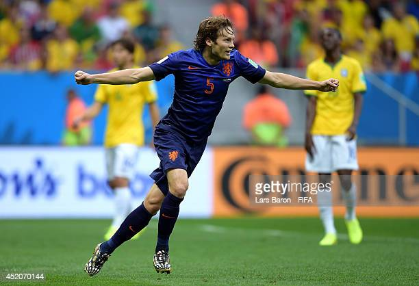 Daley Blind of the Netherlands celebrates scoring his team's second goal during the 2014 FIFA World Cup Brazil 3rd Place Playoff match between Brazil...