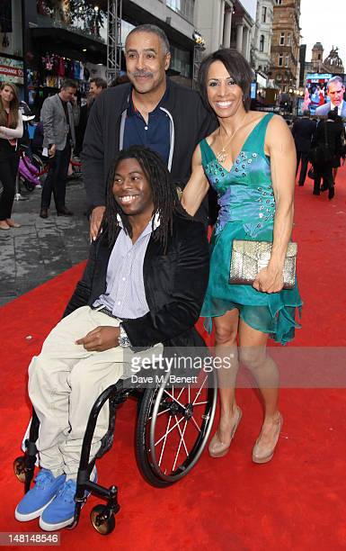 Daley Thompson Ade Adepitan and Kelly Holmes attend the 'Chariots Of Fire' UK Film Premiere at Empire Leicester Square on July 10 2012 in London...