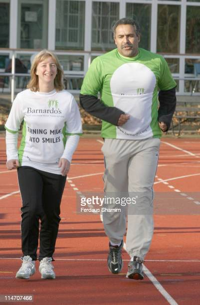 Daley Thompson and guest during Celebrities Training for the 2006 Flora London Marathon Photocall at Battersea Park in London Great Britain