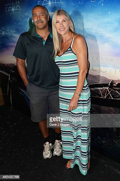 Daley Thompson and Sharron Davies attend a special screening of Earth To Echo at The Mayfair Hotel on July 20 2014 in London England