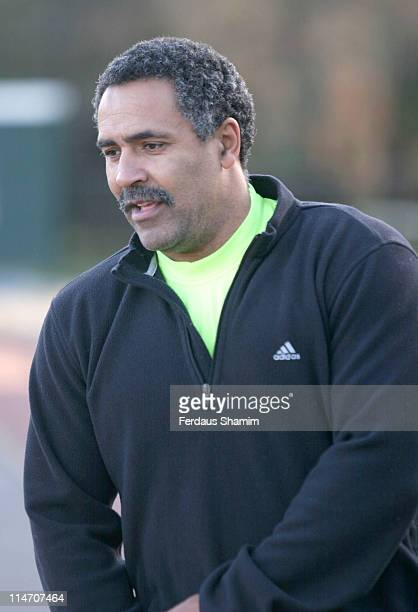 Daley Thompson during Celebrities Training for the 2006 Flora London Marathon Photocall at Battersea Park in London Great Britain