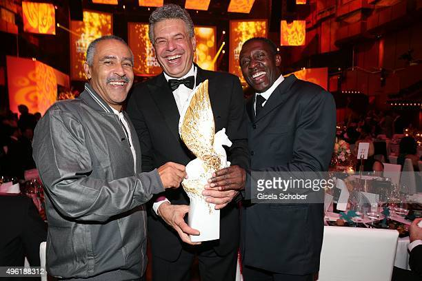 Daley Thompson Juergen Hingsen with Meissen Pegasos Award and Linford Christie during the German Sports Media Ball at Alte Oper on November 7 2015 in...
