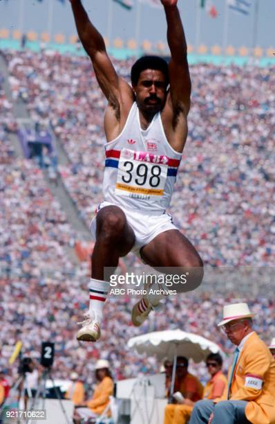 Daley Thompson Men's decathlon long jump competition Memorial Coliseum at the 1984 Summer Olympics August 8 1984