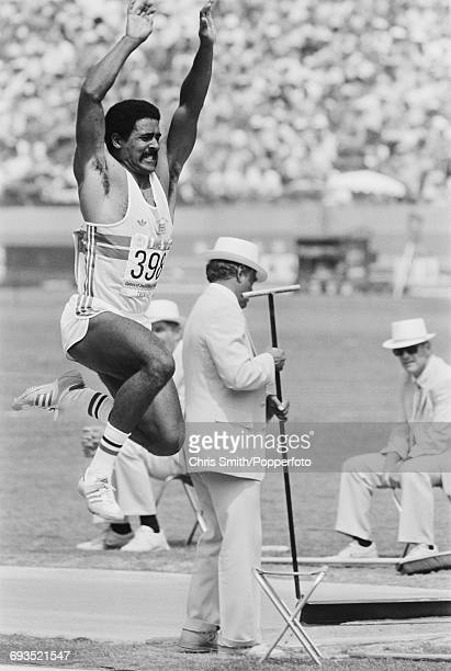 Daley Thompson of Great Britain competes in the long jump discipline on the first day of the decathlon competition at the 1984 Summer Olympics in Los...