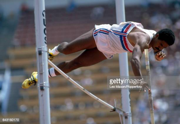 Daley Thompson of Great Britain enroute to winning the decathlon event during the Summer Olympic Games in Los Angeles circa August 1984
