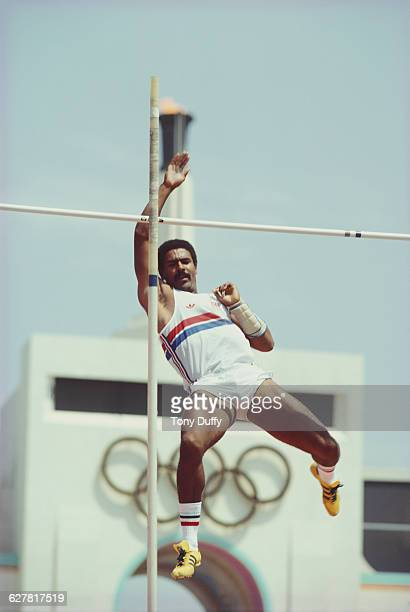 Daley Thompson of Great Britain competes in the Pole Vault event of the Men's Decathlon at the XXIII Summer Olympics on 8 August 1984 at the Los...