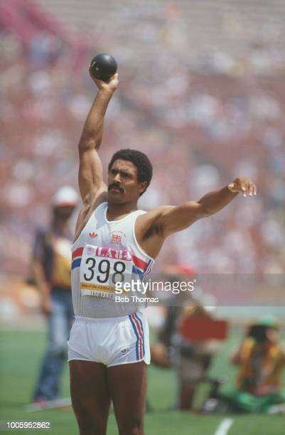 Daley Thompson of Great Britain competes in the shot put discipline on the first day of the Men's decathlon competition at the 1984 Summer Olympics...