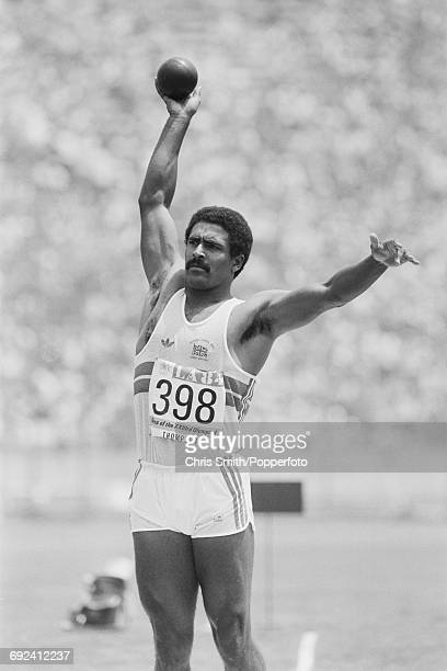 Daley Thompson of Great Britain competes in the shot put discipline on the first day of the decathlon competition at the 1984 Summer Olympics in Los...