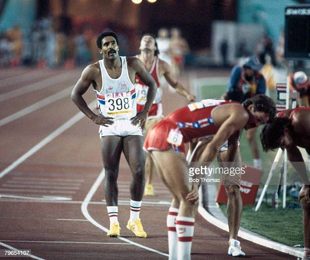 Daley Thompson of Great Britain crosses the finish line in 14th place in the 1500 metres race the final discipline to win the gold medal in the Men's...