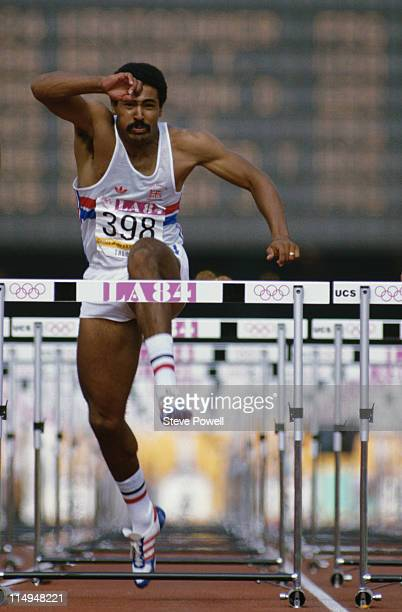 Daley Thompson of Great Britain during the 110 metres Hurdles event of the Men's Decathlon at the XXIII Summer Olympics on 9th August 1984 at the Los...