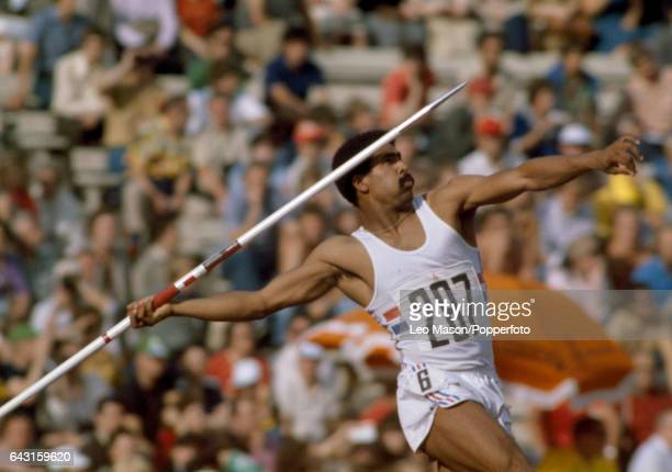 Daley Thompson of Great Britain enroute to winning the decathlon event during the Summer Olympic Games in Moscow circa July 1980
