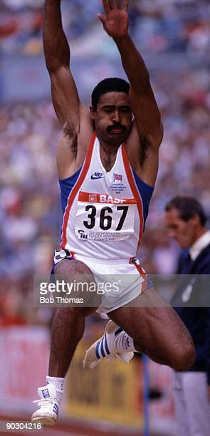 Daley Thompson of Great Britain, gold medal winner, in the long jump of the decathlon event held in Stuttgart, Germany, in August 1986. .