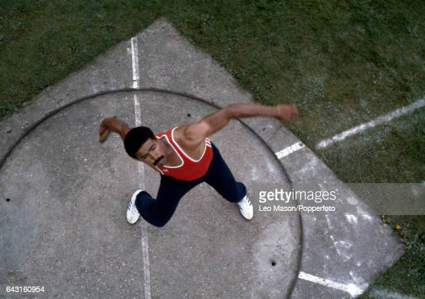 Daley Thompson of Great Britain practicing the discus during a training session at Crystal Palace in London circa 1980