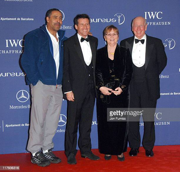 Daley Thompson Seb Coe and Sir Bobby Charlton during 2007 Laureus World Sports Awards Red Carpet Arrivals at Palau Sant Jordi in Barcelona Spain