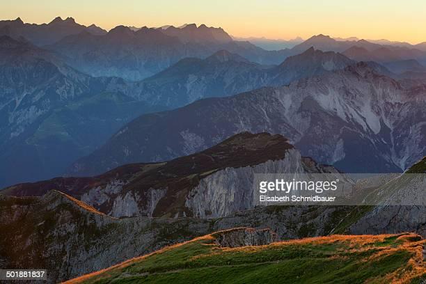 Dalfazer Joch, ridge of Hochiss Mountain in Rofan, Maurach, Tyrol, Austria