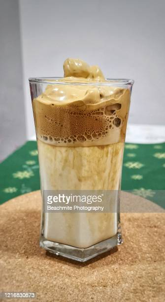 dalgona coffee ,a trendy creamy whipped coffee with milk. - dalgona stock pictures, royalty-free photos & images