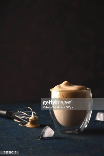 dalgona coffee at home beautiful drink serving in a coffee house - dalgona stock pictures, royalty-free photos & images