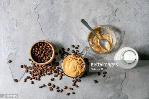 dalgona frothy coffee - dalgona stock pictures, royalty-free photos & images