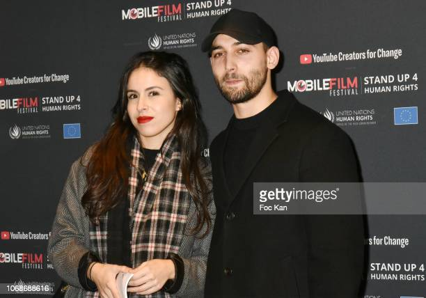 Dali Benssalah and Melissa attend the 'Mobile Film Festival Stand Up 4 Human Rights Awards' Ceremony Hosted by Youtube Creators For Change at Cinema...