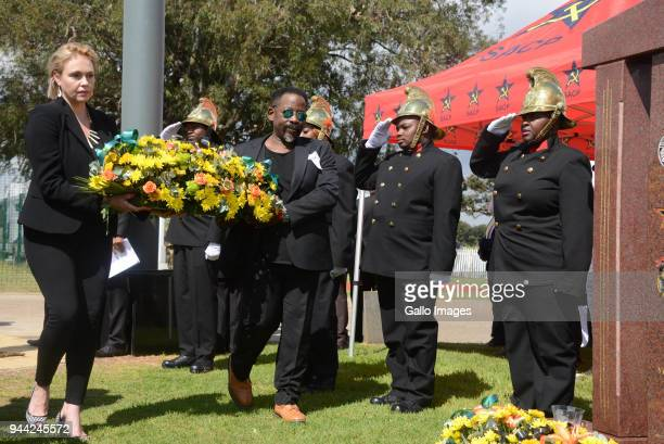 Dali Tambo and his wife Rachel Tamboat the wreath laying ceremony during the 25 year anniversary commemorating Chris Hanis death on April 10 2018 in...