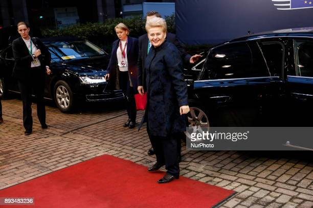Dalia Grybauskaite Lithuanian Prime Minister is arriving to the Europa building in Brussels Belgium for Euro Zone leaders summit on December 15 2017