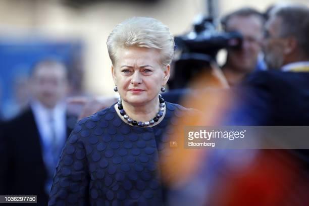 Dalia Grybauskaite, Lithuania's president, arrives ahead of an informal meeting of European Union leaders in Salzburg, Austria, on Thursday, Sept....