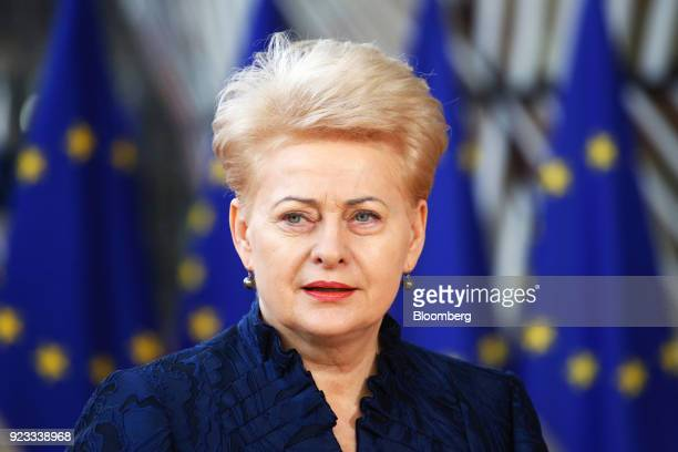Dalia Grybauskaite, Lithuania's president, arrives at a European Union leaders summit at the Europa Building in Brussels, Belgium, on Friday, Feb....