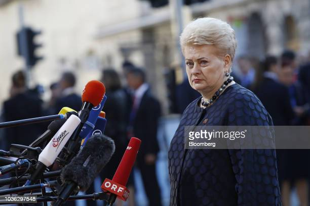 Dalia Grybauskaite, Lithuania's president, speaks to reporters ahead of an informal meeting of European Union leaders in Salzburg, Austria, on...