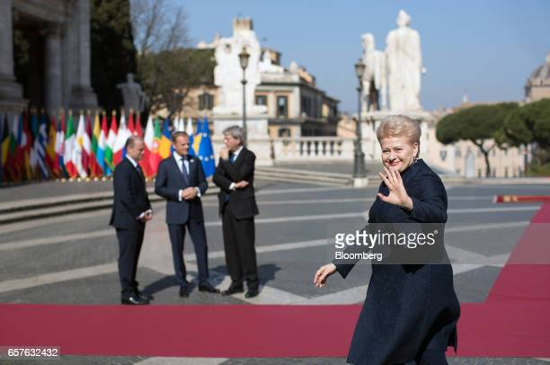 Dalia Grybauskaite Lithuania's president waves as she arrives for a summit to mark the 60th anniversary of the signing of the Rome Treaties in Rome...