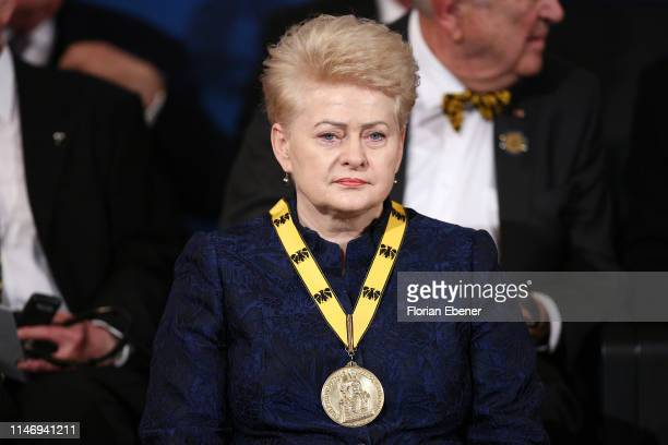 Dalia Grybauskaite with here International Charlemagne Prize of Aachen at the International Charlemagne Prize of Aachen 2019 , awarded to Secretary...
