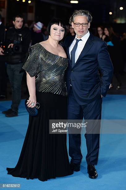 Dalia Ibelhauptaite and Dexter Fletcher arrive for the European premiere of 'Eddie The Eagle' at Odeon Leicester Square on March 17 2016 in London...