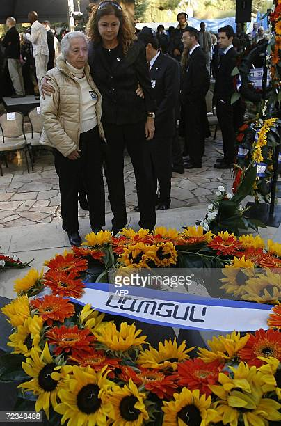 Dalia Rabin the daughter of the late Israeli prime minister Yitzhak Rabin stands with her aunt and Rabin's sister Rahel Yaakov by Rabin's grave...