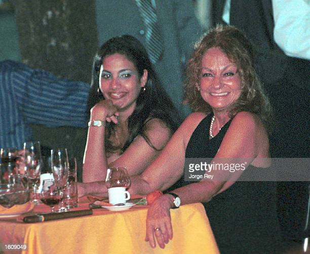 Dalia Soto del Valle sits with an unidentified friend during the Habanos SA event February 2001 at the Tropicana Cabaret in Havana Cuba Soto del...
