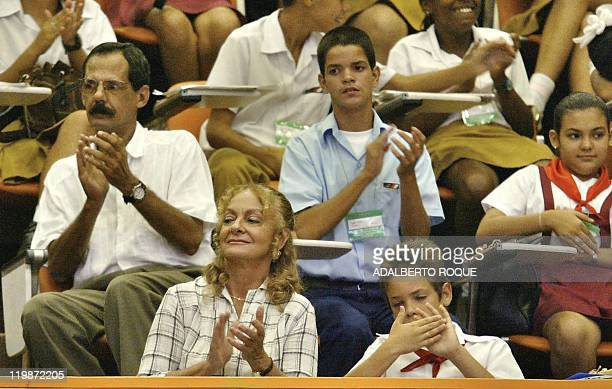 Dalia Soto del Valle wife of Cuban President Fidel Castro applauds the speech her husband makes in the Palace of Conventions in Havana 26 June 2002...