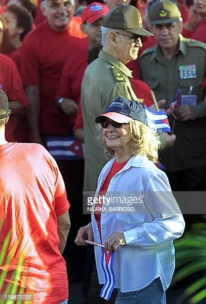 Dalia Soto del Valle wife of Cuban President Fidel Castro arrives 01 May 2004 at the Revolution Square in Havana to participate in the traditional...
