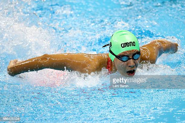 Dalia Torrez of Nicaragua competes in heat two of the Women's 100m Butterfly on Day 1 of the Rio 2016 Olympic Games at the Olympic Aquatics Stadium...