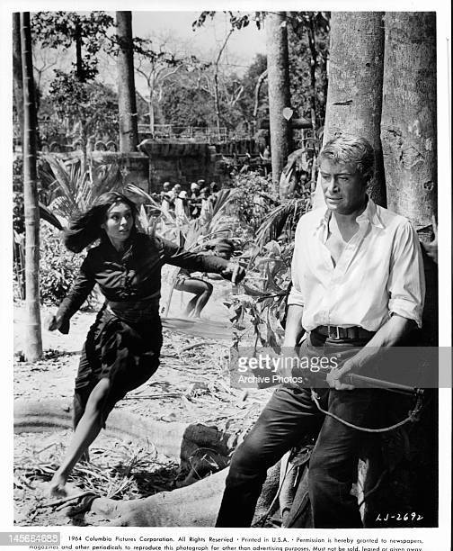 Daliah Lavi runs to Peter O'Toole in a scene from the film 'Lord Jim' 1965