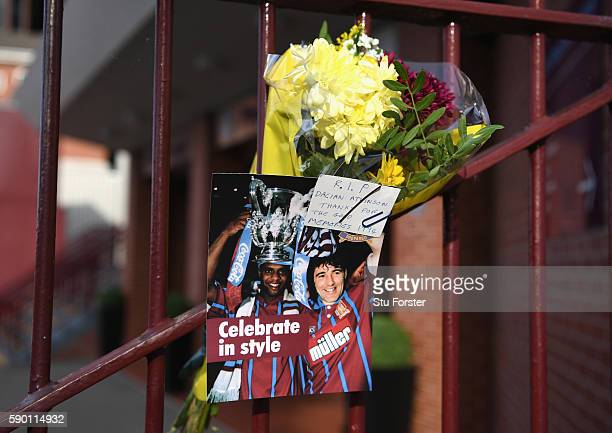 Dalian Atkinson tributes are left outside the stadium prior to the Sky Bet Championship match between Aston Villa and Huddersfield Town at Villa Park...