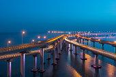Dalian Cross-Sea Bridge at night