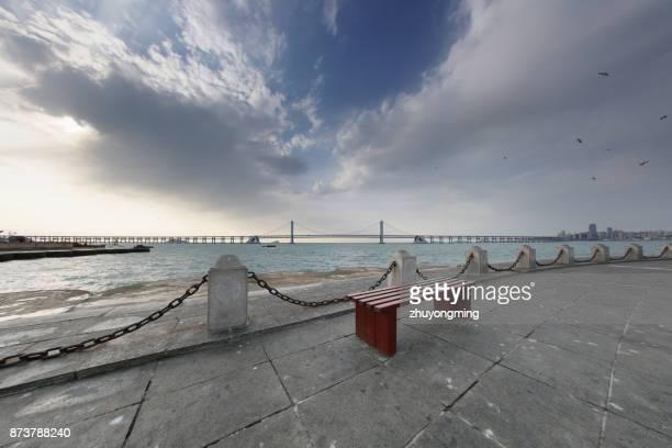 Dalian Xinghai Bay Bridge and bench